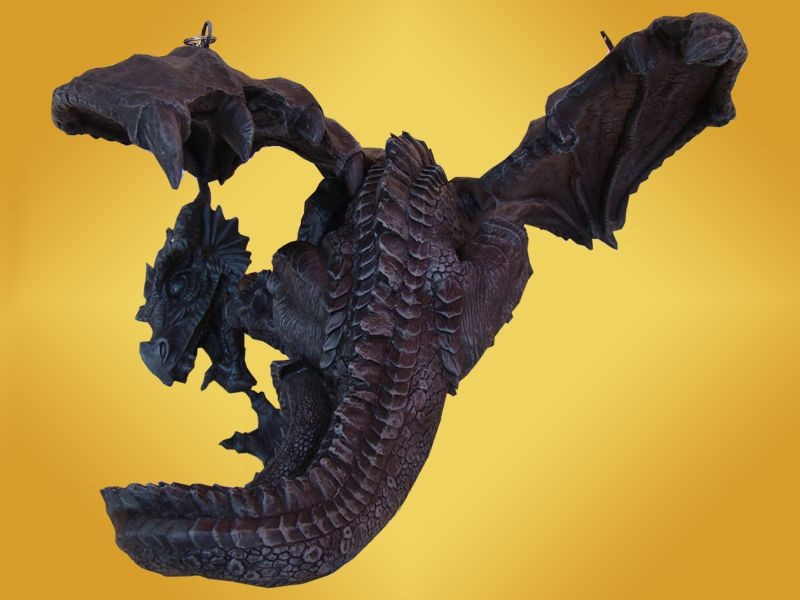 lampe dragon lustre suspendre avec cha nes dragons mobilier fantasy gothique anticae. Black Bedroom Furniture Sets. Home Design Ideas