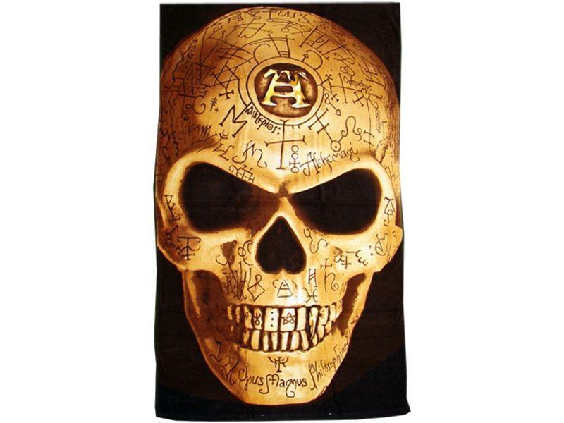 drap de bain omega skull alchemy gothic serviette de plage fantasy cr ne squelette anticae. Black Bedroom Furniture Sets. Home Design Ideas