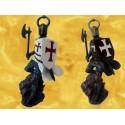 Lot 2 Chevaliers Croisé Cottes Mailles Tabard Hache Bouclier Figurines Soldats Templiers Moyen Age