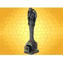 Archange Noir Figurine Ange qui Prie sur Stèle et Roses avec Mini Coffre