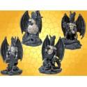 Lot Statuettes Dragons Cuirassés Fantasy Armure Bouclier Croix et Épée