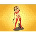 Statuette Femme Barbare Figurine Guerrière Fantasy Cuissardes Rouges Colonne Fouet