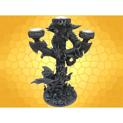 Bougeoir Dragon Colonne Triple Gothique Combat Dragons Croix et Charnier