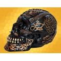 Crâne Tribal Noir et Or Gravé Runes Cranes Squelette Gothique