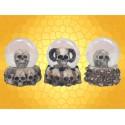 Lot 3 boules à Neige Gothiques Crânes et Ossements Boule Verre Squelette