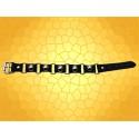 Bracelet Antique Cuir Noir avec Cinq Boules Acier  Bijou Médiéval Bracelets Style Moyen Age