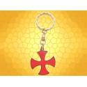 Porte Clés Templier Croix Templière Biface Émaillée rouge Porte-Clef Médiéval