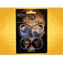 Lot Quatre Badges Alchemy Gothic Dragon Skull Doctrinus Lord Illusion
