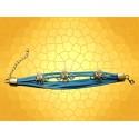 Bracelet Cuir Bleu Araignées Brillants Bijoux Gothiques Fantasy Strass