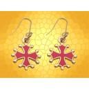 Boucles Oreille Occitanes Croix Chrétienne Occitanie Façon Or Émaillées Rouge