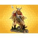Figurine Viking Guerrier Barbare Statuette Antique Combattant Nordique Lance