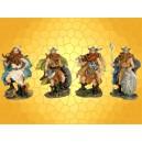 Lot de Quatre Figurines Guerrier Viking Guerriers Nordiques Combattants Barbares