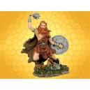 Figurine Viking Statuette Antique Guerrier Scandinave Bouclier et Masse