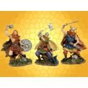 Lot de Trois Figurines Vikings Statuettes Antiques Guerriers Nordiques Combattants Barbares