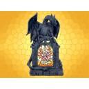 Statuette Vitrail Dragon Portique Gothique Vitrage Coloré Fantasy