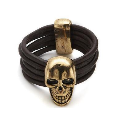 Bague Macabre Crâne Doré élastique Bijou Gothique