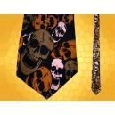 Cravate Grands Crânes Marron Rose Cravates Soie Gothiques Psychédélique Fantasy