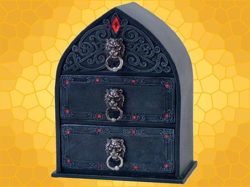 boite bijoux lions avec tiroirs mobilier d coration gothique fantasy anticae. Black Bedroom Furniture Sets. Home Design Ideas