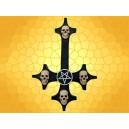 Croix Satanique et Pentagramme Plaque Murale Noire 4 Crânes Crucifix Inversé