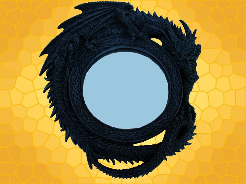 Miroir rond dragons d coration gothique fantasy dragon for Miroir rond gris