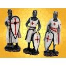 Lot de 3 Figurines Chevalier Templier en Armure Ensemble Trois Statuettes Moyen Age