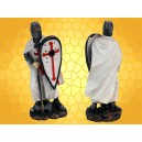 Figurine Chevalier Templier en Armure Hache et Bouclier Mini Statuette Soldat Croisades