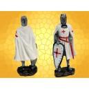 Figurine Chevalier Templier en Armure Bouclier et Épée Rouge  Mini Statuette Soldat Croisades