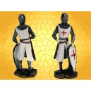 Figurine Chevalier Templier en Armure Épée Noire et Bouclier Mini Statuette Soldat Croisades