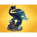 Statuette Petit Dragon Bleu Pailleté sur Rochers Dragons Couleur