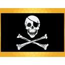 Drapeau Noir et Blanc Pirate Crâne et Tibias Drapeaux Pirates