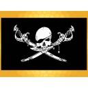 Drapeau Noir et Blanc Pirate Crâne et Sabres Drapeaux Pirates