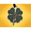 Collier Celtique Trèfle à quatre feuilles émaillé vert pendentif St Patrick Porte Bonheur