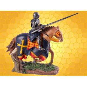 Chevalier Noir Médiéval Armure et Lance à Cheval au Galop Tournoi
