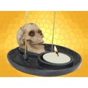 Double Brûle Encens et Bougeoir Crâne avec Trou sur le Front Décoration Gothique