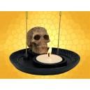 Double Brûle Encens et Bougeoir Crâne Gothique avec Runes Décoration Squelette