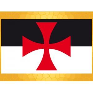 Drapeau Templier BAUSSANT 150 x 90 cm Croix Templière Noir Blanc Rouge