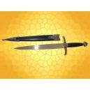 Dague Médiévale Lancelot avec Fourreau Noire, Or et Argent