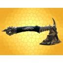 Hache Fantasy Dragon Noir Simple Tranchant avec Crâne et Pointes Gothique