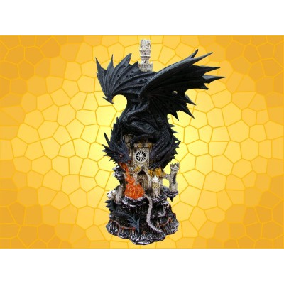 Grande Statuette Lumineuse Dragon Noir Château Fort Dragons